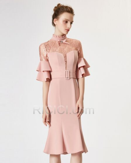 Sheath Mermaid High Neck With Lace Ruffle Half Sleeve Bell Sleeve Formal Red Carpet Dresses Blush Sexy Satin