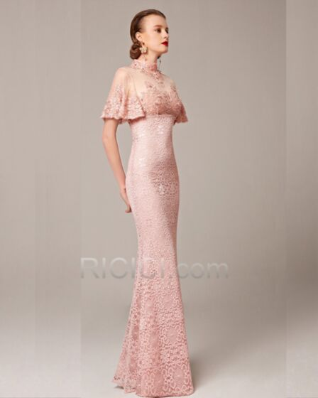 High Neck Long Blush Pink Sheath Charming Gorgeous Lace Flounce Embroidered Formal Evening Prom Homecoming Dress For Occasions Short Sleeve