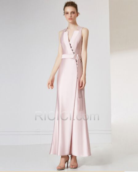 Satin Flounce Beautiful Sleeveless Formal Evening Gala Dresses Wrap Light Pink