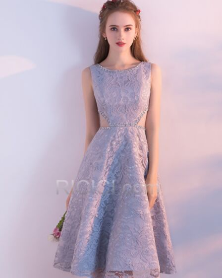 Evening Homecoming Sweet 16 Dress For Party Knee Length Silver Fit And Flare Sleeveless Tulle Lace Sexy Chic Charming With Lace Rhinestones Hollow Out