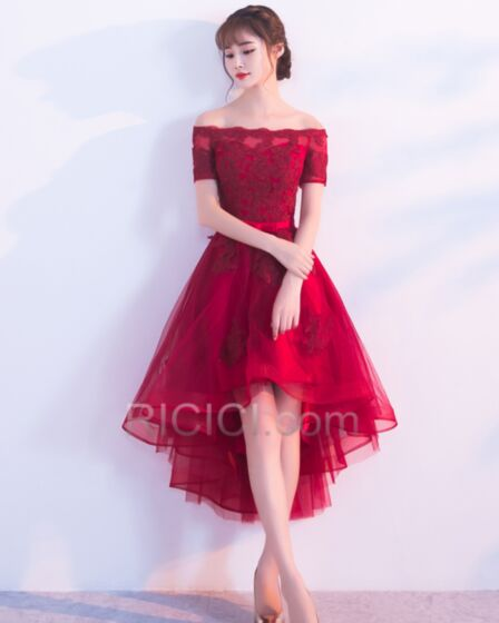 Short Sleeve Ruffle Cocktail Homecoming Sweet 16 Dress For Party Burgundy Lace Tulle Off The Shoulder High-Low Short Fit And Flare Cute
