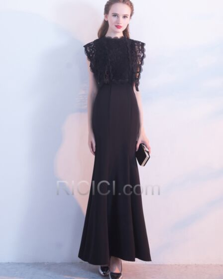 Ankle Length Mermaid Formal Evening Homecoming Occasion Dress Summer Tulle Lace Beautiful Scoop Neck Flounce