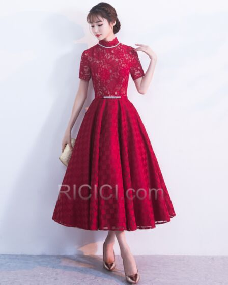 Tea Length Burgundy Lace Satin Wedding Guest Mother Of Bridal / Groom Dress For Occasions Short Sleeve Modest Elegant With Lace Flounce A line High Neck