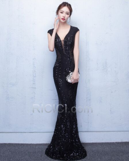 Glitter Charming Gorgeous Sexy Formal Evening Prom Sweet 16 Party Dress Sleeveless Mermaid Black Tulle