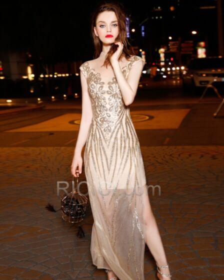 Homecoming Christmas Formal Dresses Elegant Sparkly Sleeveless Sheath Long Spring Sequin Tulle