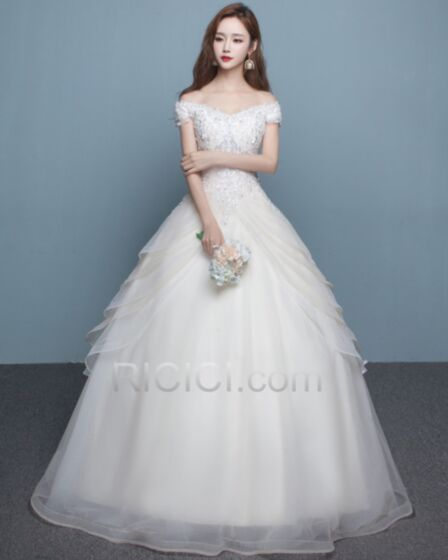 Vintage Elegant Bridal Gown Ball Gown Off The Shoulder Short Sleeve Tulle Lace With Sequin / Glitter Ruffle Long