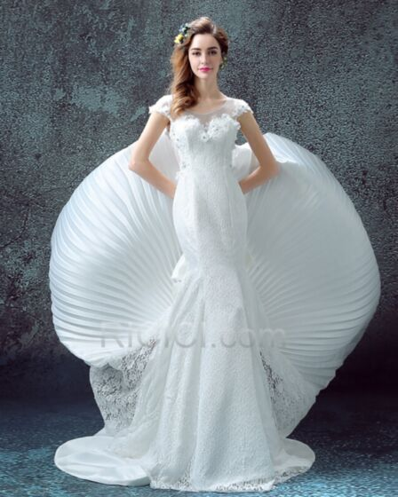 Sheath Mermaid Wedding Gown Sweetheart Beautiful Short Sleeve Spring Summer Satin Tulle Lace Beach Outdoor / Garden Bow