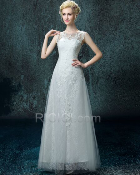 Wedding Dresses Tulle Lace 2017 A line / Princess White Fall Long Scoop Neck Sleeveless Charming Simple Open Back Appliques