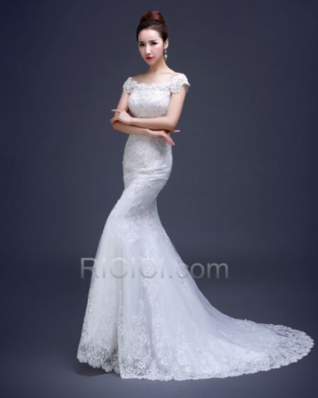 Beach Lace Wedding Gown Long With Train With Sequin / Glitter Summer Off The Shoulder Mermaid Sheath Charming