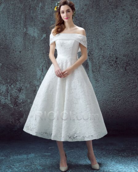 Off The Shoulder Beach Reception Wedding Dresses Lace A line Fit And Flare Simple Beautiful Tea Length Sleeveless Backless