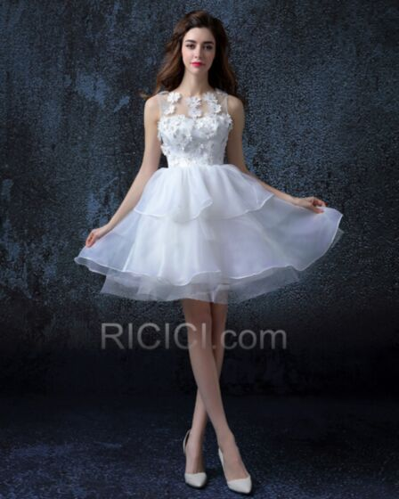 Organza Short White Fit And Flare With Lace Ruffle Beach Reception Bohemian Cute Sleeveless Wedding Dresses Summer
