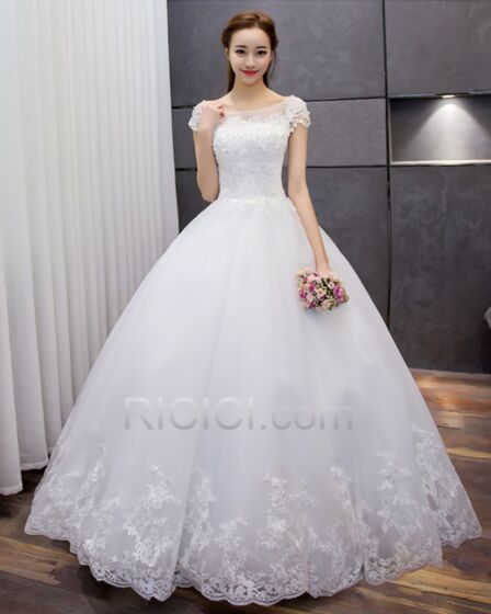 White Ball Gown With Lace Sleeveless Wedding Dresses Long Elegant Vintage