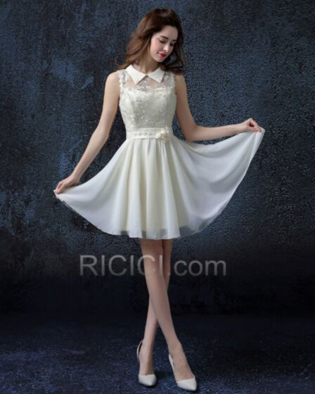 Tulle Lace Ivory / Beige Reception Fit And Flare Wedding Dress Backless Sleeveless Simple Beautiful Peter Pan Collar