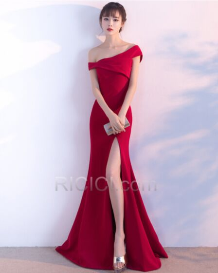 Charming Simple Sheath Red Spring Flounce Off The Shoulder Wedding Guest Formal Evening Occasion Dress Long Satin