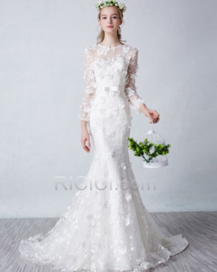 Mermaid Wedding Dresses Beach Lace Tulle Long Sleeve Spring Charming Bohemian With Train