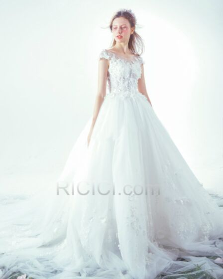 Beach Church Lace Tulle White Wedding Gown Princess Spring Beautiful Gorgeous Open Back With Train Sleeveless