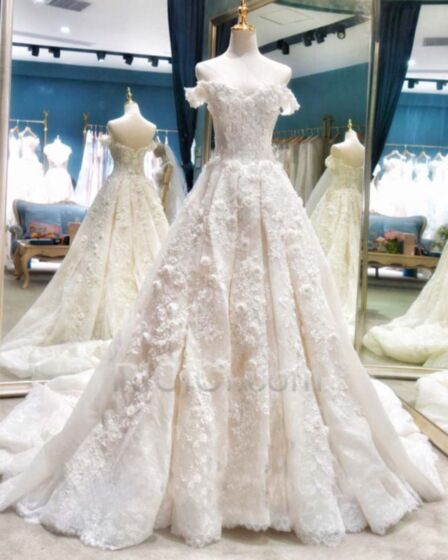 Ball Gown Lace Wedding Dresses Luxury Backless Long With Train Sleeveless 2017
