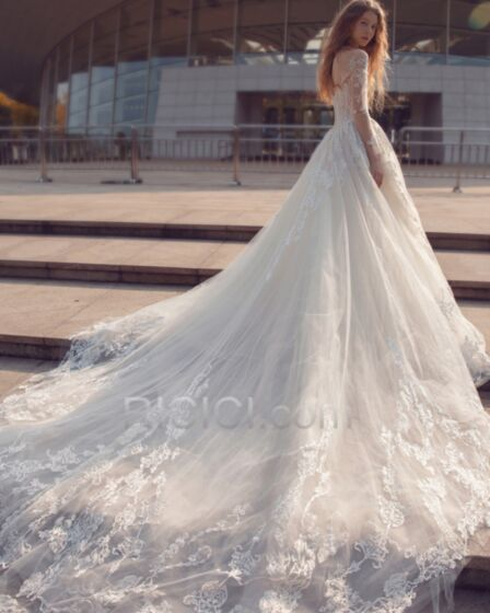 With Sequin / Glitter Backless Elegant Gorgeous Ivory / Beige Long Sleeve Lace Wedding Dresses A line
