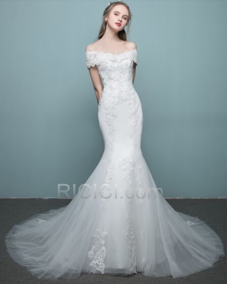 White With Lace Backless Mermaid Sheath Off The Shoulder Beach Bridal Gown Charming