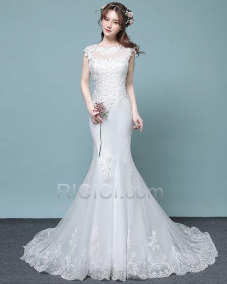 Open Back Lace Wedding Dress Sleeveless Mermaid Sheath White Charming Long With Train Scoop Neck