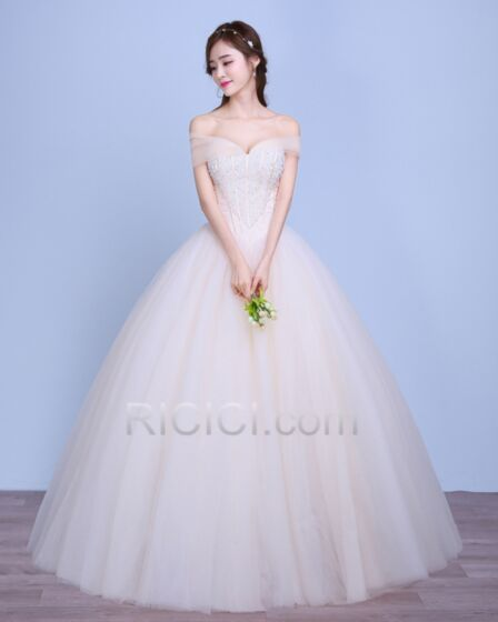 Ball Gown Ivory / Beige Wedding Dresses Sweetheart Charming Luxury Tulle Open Back