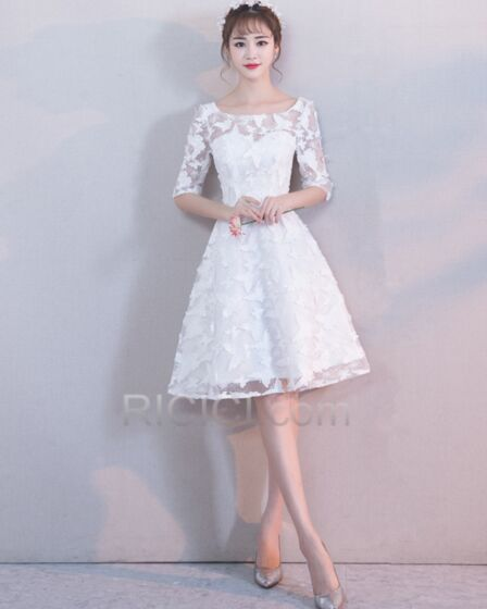 Fit And Flare Beach Reception White Lace Half Sleeve Charming Simple Wedding Dress