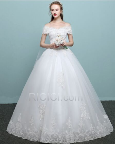Beautiful Off The Shoulder Tulle Lace Ball Gown Backless / Open Back Long With Train Sleeveless Wedding Dresses