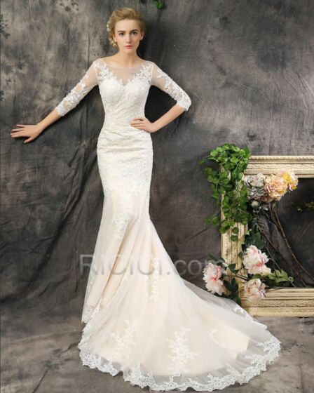 2017 Lace Tulle Backless Ivory / Beige Wedding Dress Mermaid Elegant Long With Train