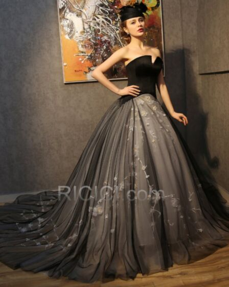 Ball Gown Vintage Sexy Bandeau Plunge Sleeveless Prom Dress For Party Backless Satin Tulle