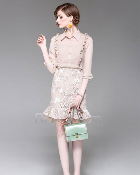 Long Sleeve Champagne Sheath Short Beautiful Chiffon Peter Pan Collar With Lace Ruffle Top and Skirt