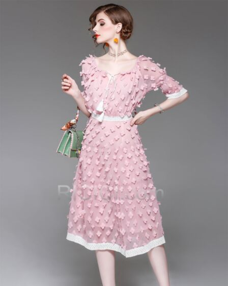 Half Sleeve With Lace Chiffon Midi Scoop Neck Charming Light Pink Casual Work Dress For Women Sheath