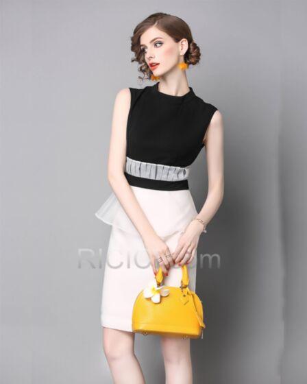 Sleeveless Elegant High Neck Sheath Organza Chiffon Ruffle Midi Casual Work Dress For Women Black & White