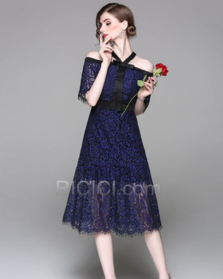 Beautiful Lace Office Day Dresses Sheath With Lace Bow Dark Blue Midi