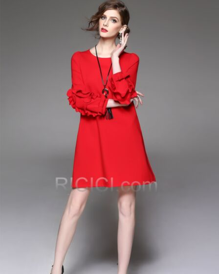 Day Work Dress For Women Midi Ruffle Half Sleeve Shift Polyester Chic