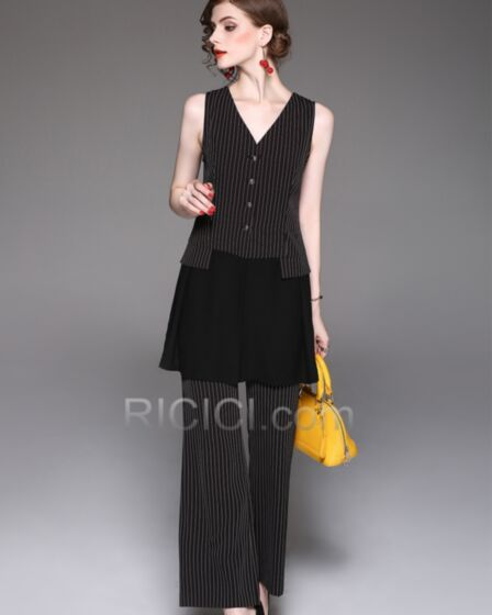 Office Casual Womens Clothes Chiffon Striped Sleeveless Charming Wide Leg
