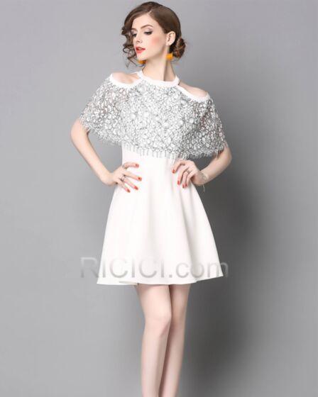 Skater Cute Chiffon Lace White Halter Sleeveless Work Casual Dresses