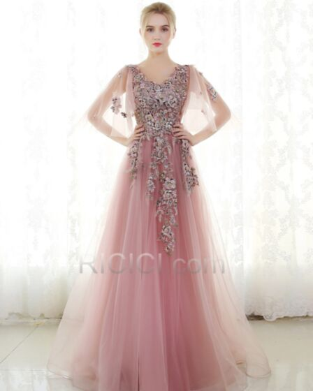Bell Sleeve Half Sleeve Blush Pink Luxury Sparkly Lace Tulle Long With Train Sweet 16 Prom Dress Princess Appliques V Neck