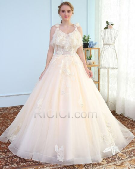 Sleeveless Ball Gown Lace Tulle Chiffon Appliques Open Back 3D Flower Bridal Gown Long