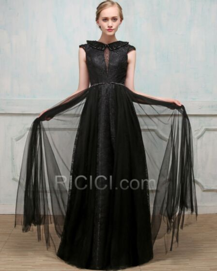 Sleeveless Tulle Lace Long Black Beautiful Sparkly Formal Evening Homecoming Party Dress Empire Backless