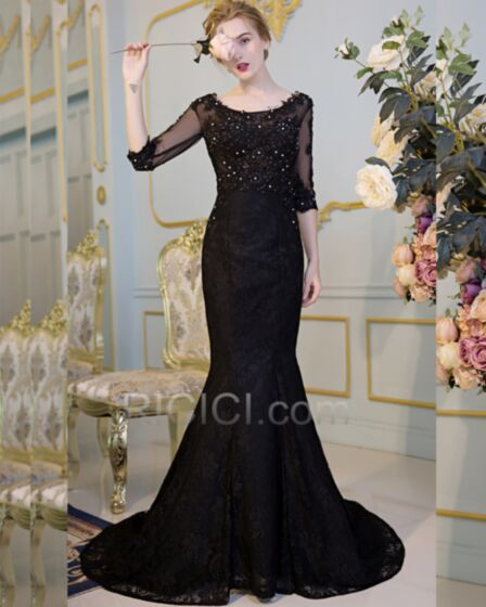 Lace Tulle Black Mermaid Formal Homecoming Dresses Appliques Open Back Crystal With Train Long