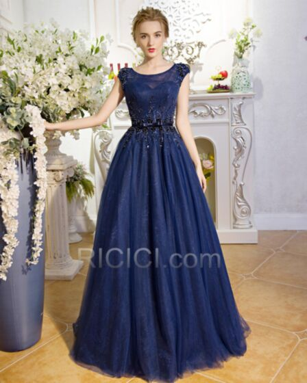 Sleeveless Tulle Blue Evening Prom Homecoming Party Dress Princess