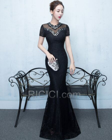 Lace Mermaid Formal Evening Dress For Occasions Backless / Open Back Crystal Long Elegant Sparkly