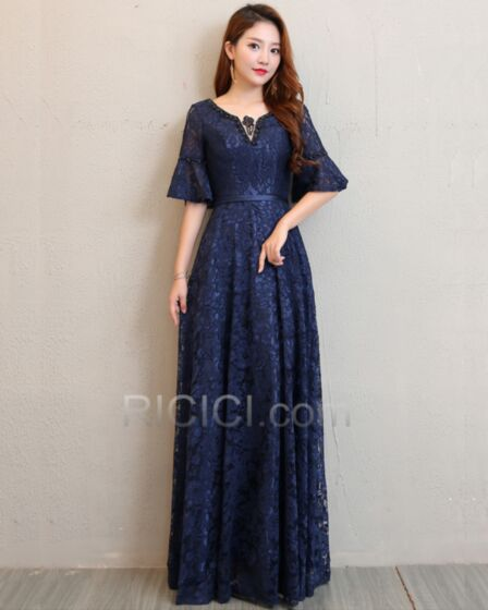 Bell Half Sleeve Lace Royal Blue Long Bridesmaid Occasion Dress Elegant Empire Open Back
