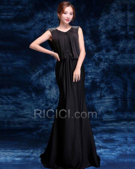 Formal Dress Simple Elegant Sleeveless Long With Train Black Backless Peplum Mermaid