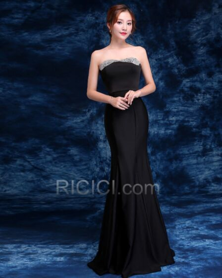 Mermaid Long Simple Beautiful Formal Evening Dress For Party Bandeau Black Beaded Satin