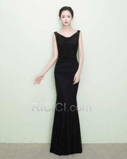 Satin Elegant Simple Sheath Evening Party Dress Flounce V Neck