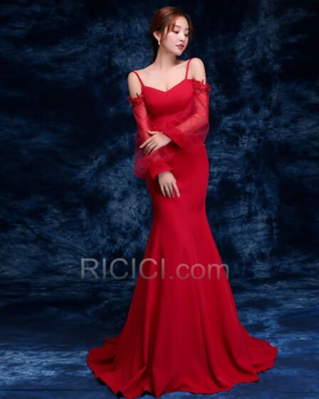 Satin Mermaid Long Red Formal Evening Dress For Party Vintage Appliques Backless / Open Back