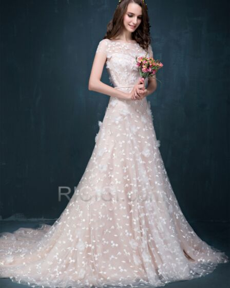 A line Short Sleeve Appliques Embroidered Long Lace Beautiful Boho Wedding Gown