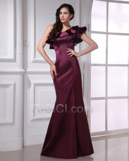 Ruffle Charming Long Satin Bridesmaid Occasion Dresses Sheath