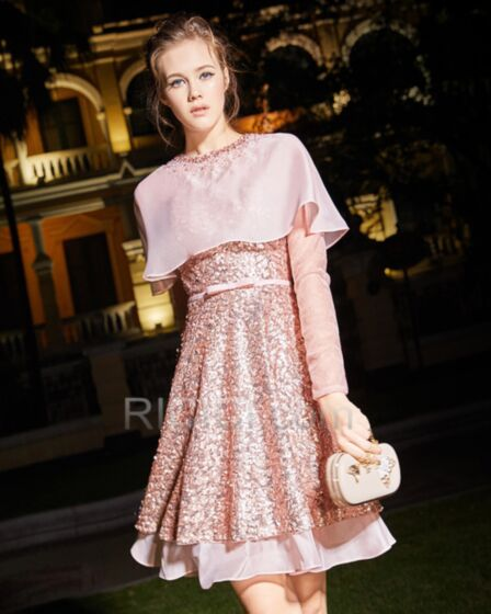 Pink Sequin Cocktail Dress Short Sweet 16 Dress With Long Sleeves